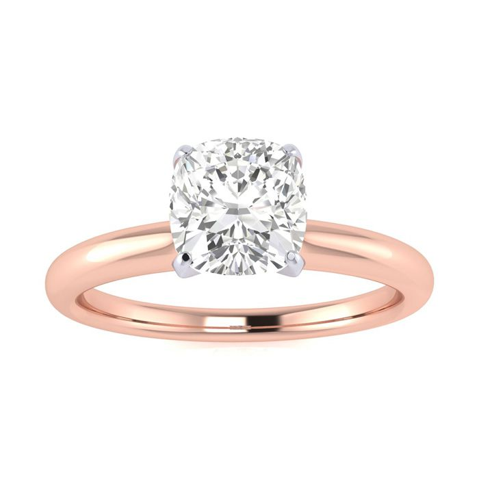 3/4 Carat Cushion Diamond Solitaire Engagement Ring in 14 Karat Rose Gold