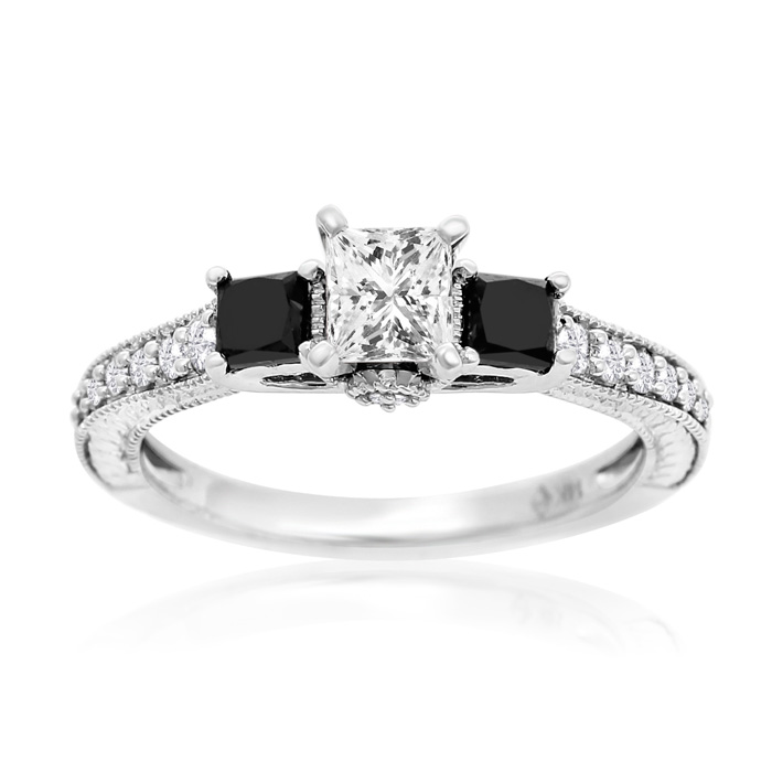 1 Carat Princess Diamond Antique Model Engagement Ring With Black Diamond Accents In 14K