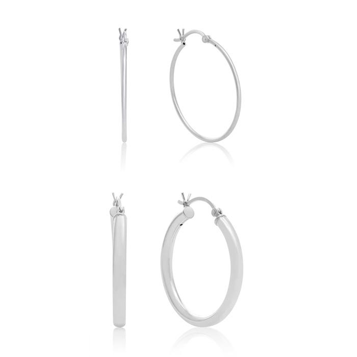 Set of Two Sterling Silver Hoop Earrings, 1 Inch Diameter