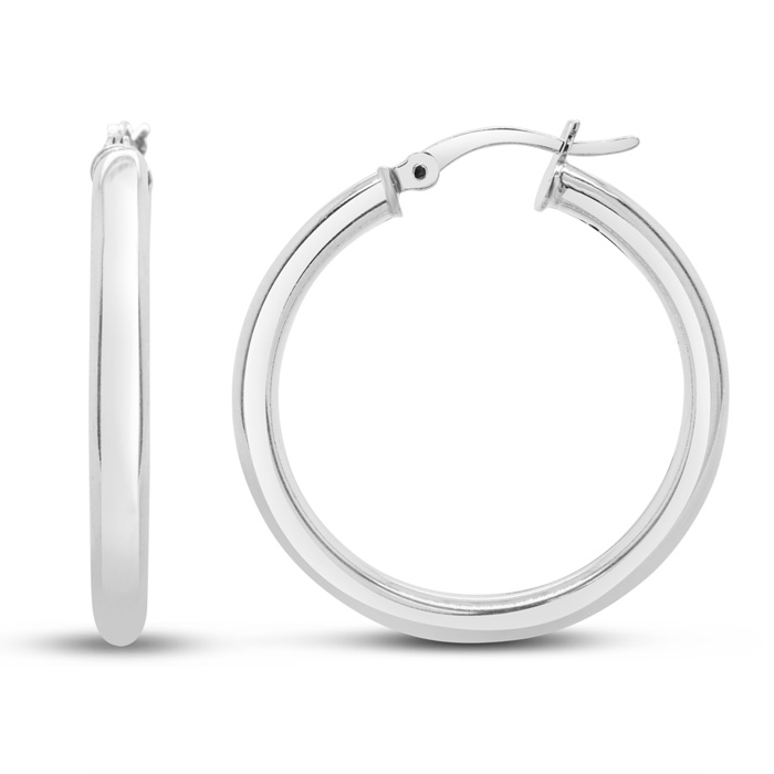 Sterling Silver 3MM Wide 1 Inch Hoop Earrings