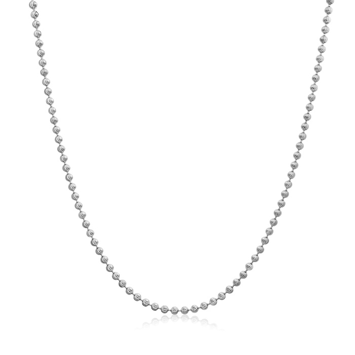 Sterling Silver 24 Inch Moon Cut Chain