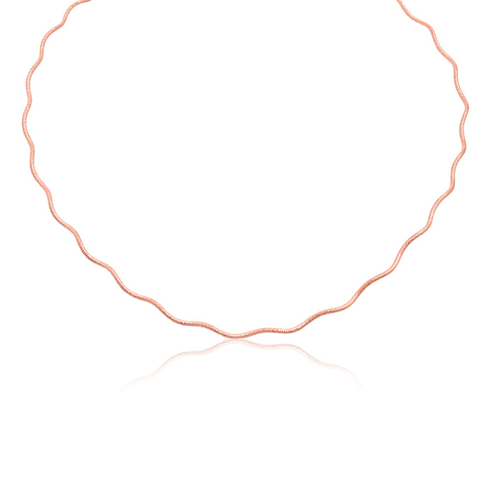 18 Inch 14k Rose Gold Over Sterling Silver Spring Omega Chain
