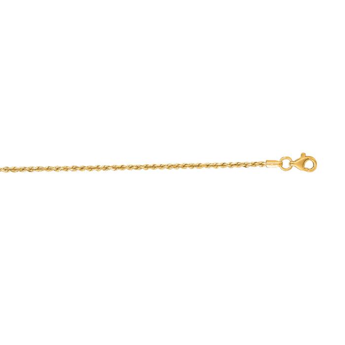 14 Karat Yellow Gold 1.50mm 22 Inch Solid Diamond Cut Rope Chain