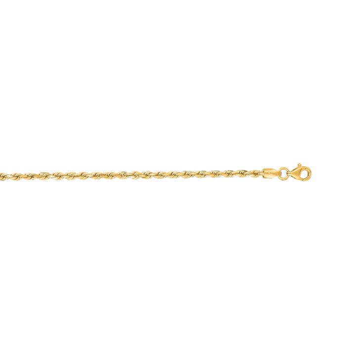 14 Karat Yellow Gold 2.50mm 18 Inch Solid Diamond Cut Rope Chain