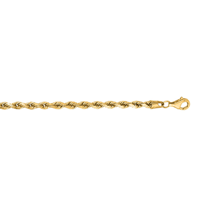 14 Karat Yellow Gold 4.0mm 18 Inch Solid Diamond Cut Rope Chain