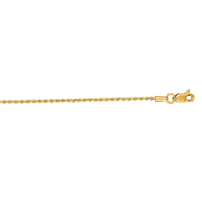 14 Karat Yellow Gold 1.25mm 24 Inch Solid Rope Chain