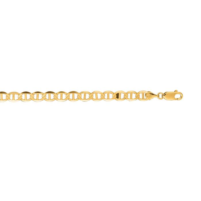 14 Karat Yellow Gold 5.50mm 20 Inch Diamond Cut Mariner Link Chain