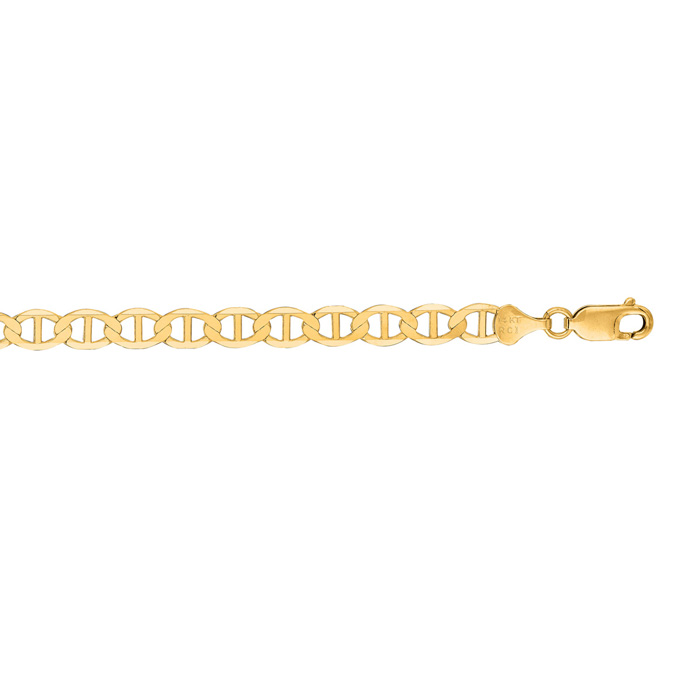 14 Karat Yellow Gold 6.30mm 22 Inch Diamond Cut Mariner Link Chain