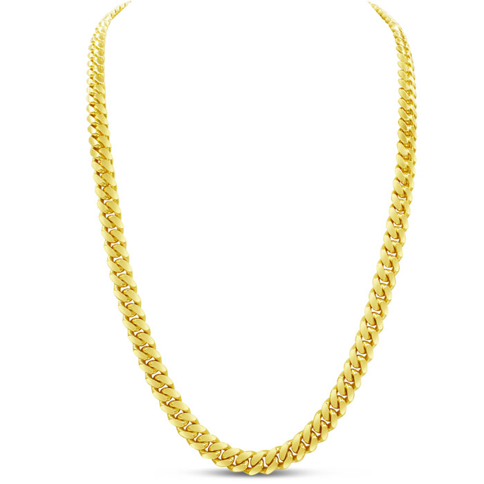 14 Karat Yellow Gold 6.70mm 30 Inch Miami Cuban Chain