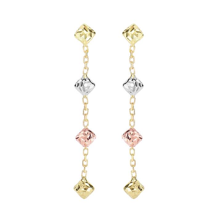 14 Karat Yellow, White, & Rose Gold 1.50 inch Diamond Shaped Beads & Chain Dangle Earrings