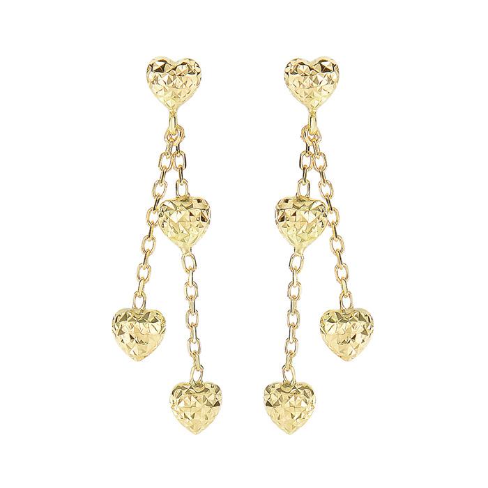 14 Karat Yellow Gold 1.25 inch Heart & Chain Dangle Earrings