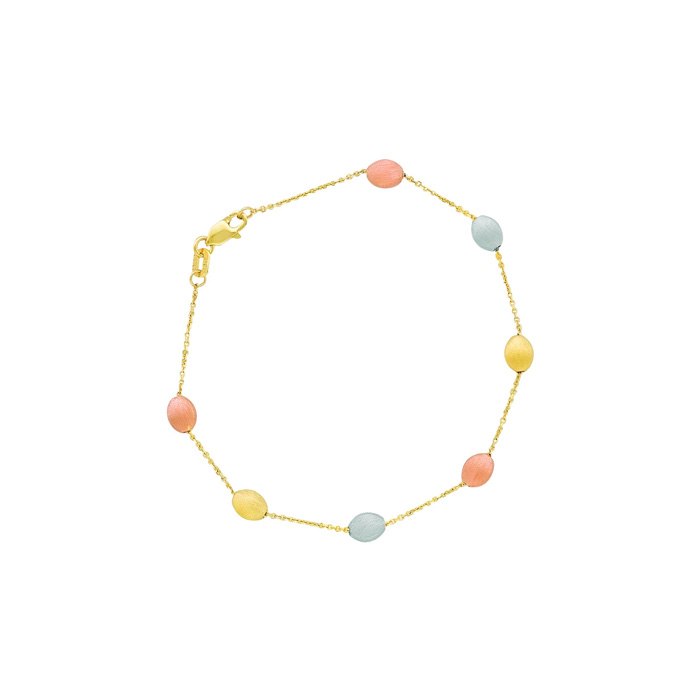 14 Karat Yellow, White & Rose Gold 7.25 Inch Tri-Color Pebble & Cable Chain Bracelet