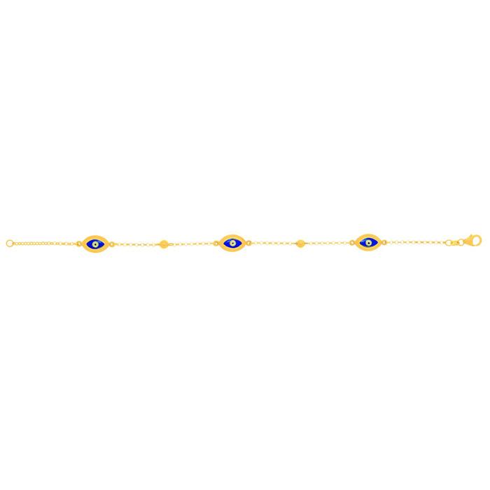 14 Karat Yellow Gold 7.50 Inch Blue Evil Eye Charm Bracelet