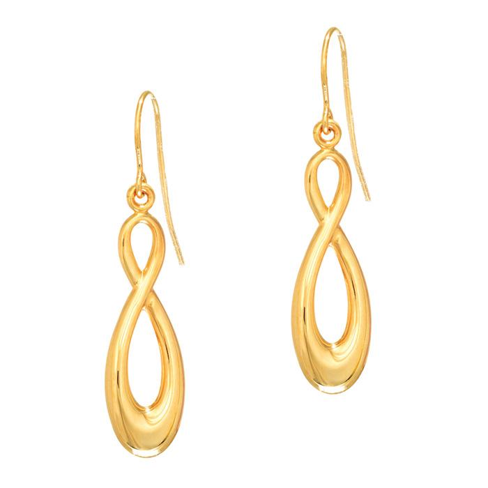 14 Karat Yellow Gold 1.25 Inch Shiny Infinity Drop Earrings