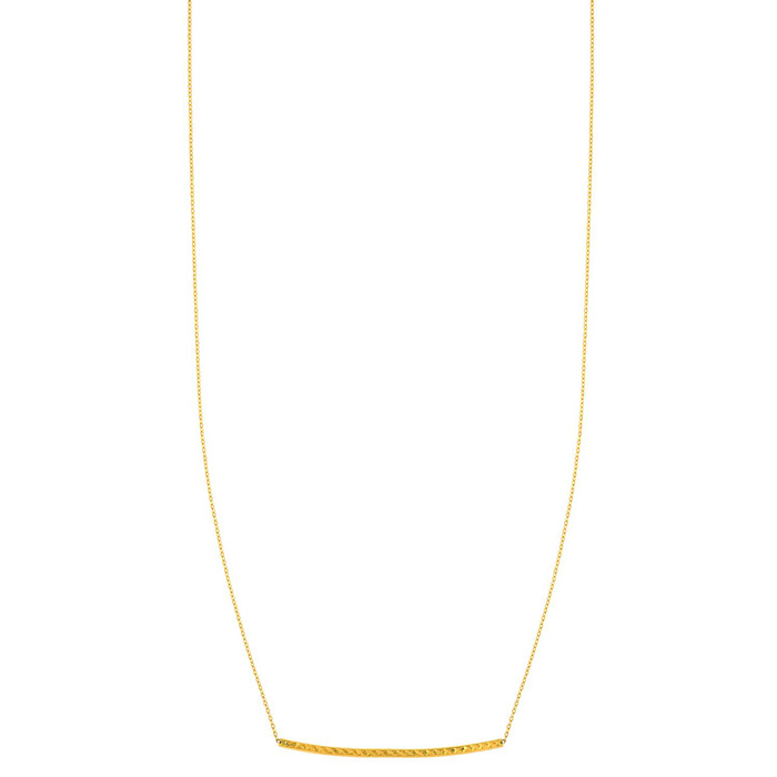 14 Karat Yellow Gold 17 Inch Diamond-Cut Curved Bar Necklace