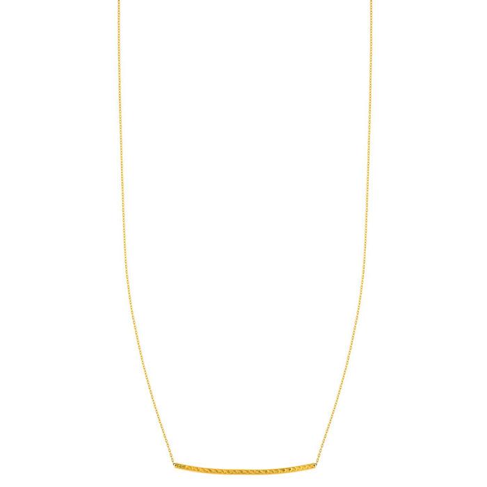 14 Karat Yellow Gold 17 Inch Diamond-Cut Curved Bar Necklace