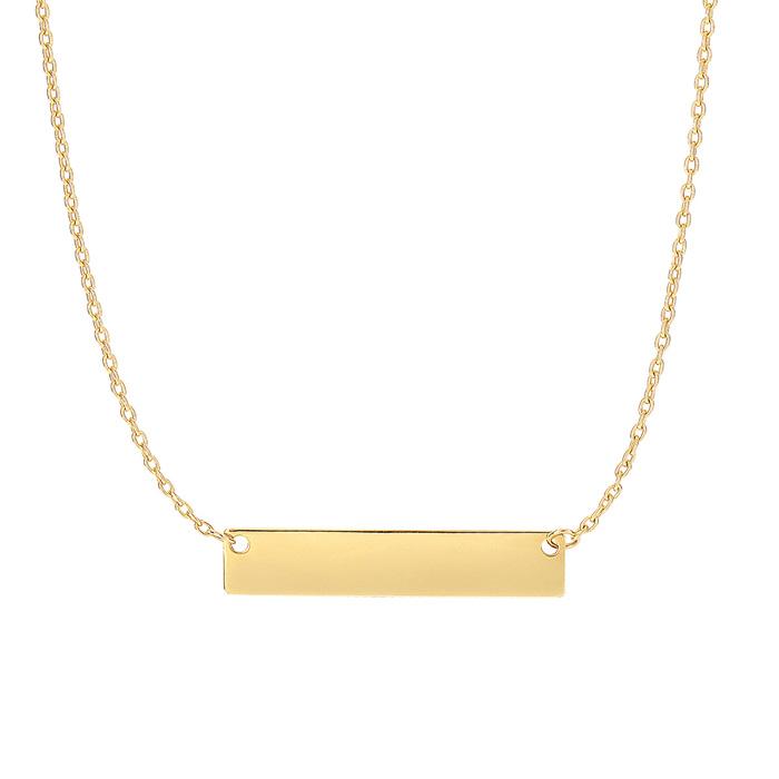 14 Karat Yellow Gold 4.9mm 18 Inch Horizontal Bar Necklace