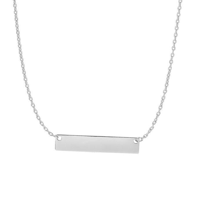 14 Karat White Gold 4.9mm 18 Inch Horizontal Bar Necklace
