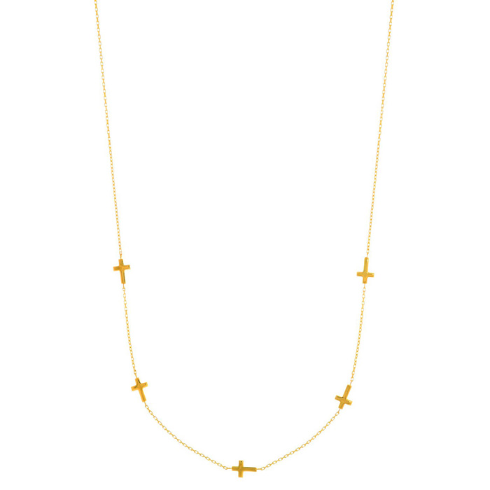 14 Karat Yellow Gold 17 inch 5 Sideways Cross Necklace