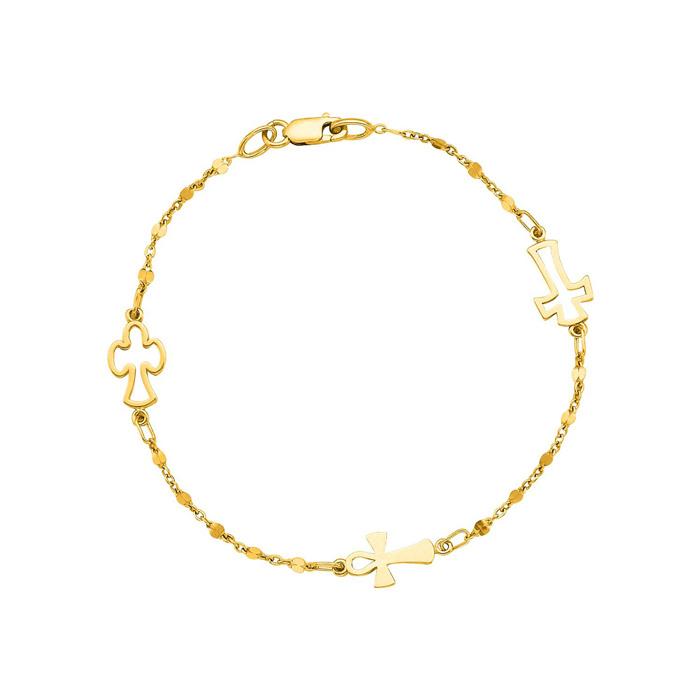 14 Karat Yellow Gold 7 inch Beaded Cross Bracelet