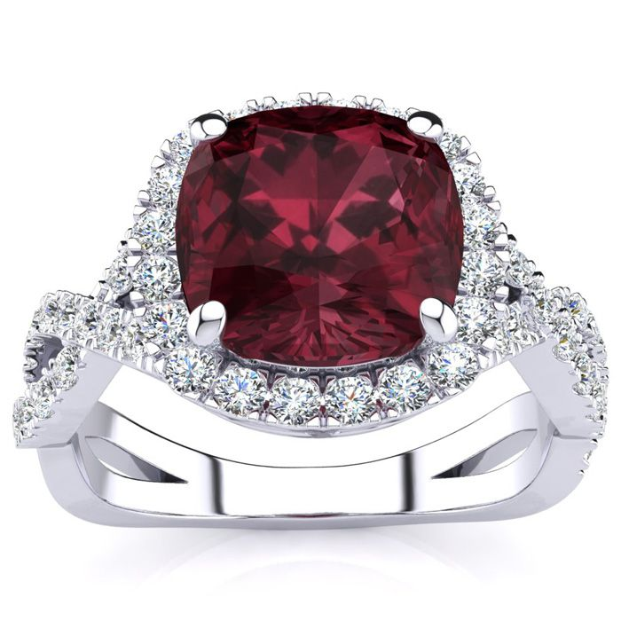 3 1/2 Carat Cushion Cut Garnet And Halo Diamond Ring With Fancy Band In 14 Karat White Gold