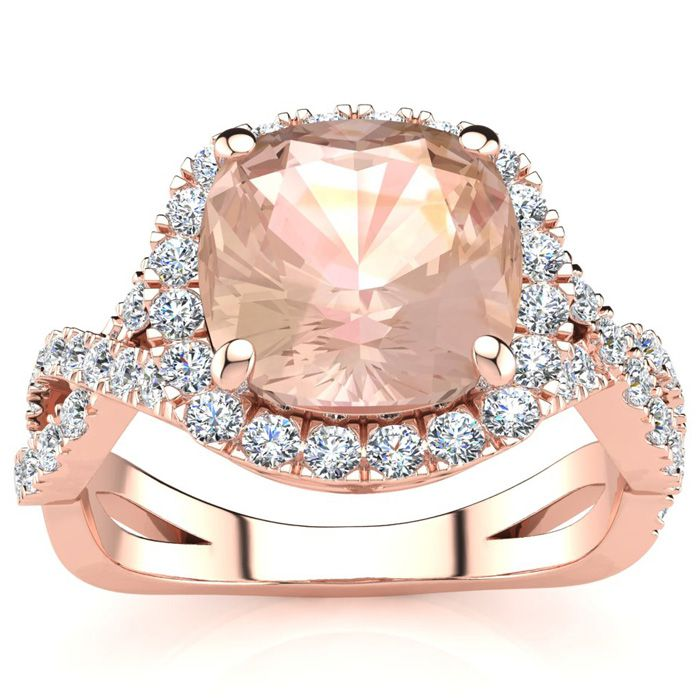 2 1/2 Carat Cushion Cut Morganite And Halo Diamond Ring With Fancy Band In 14 Karat Rose Gold