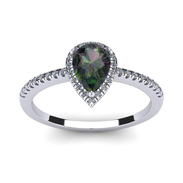 1 Carat Pear Shape Mystic Topaz and Halo Diamond Ring In 14 Karat White Gold 20746