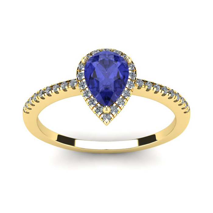 1 Carat Pear Shape Tanzanite and Halo Diamond Ring In 14 Karat Yellow Gold