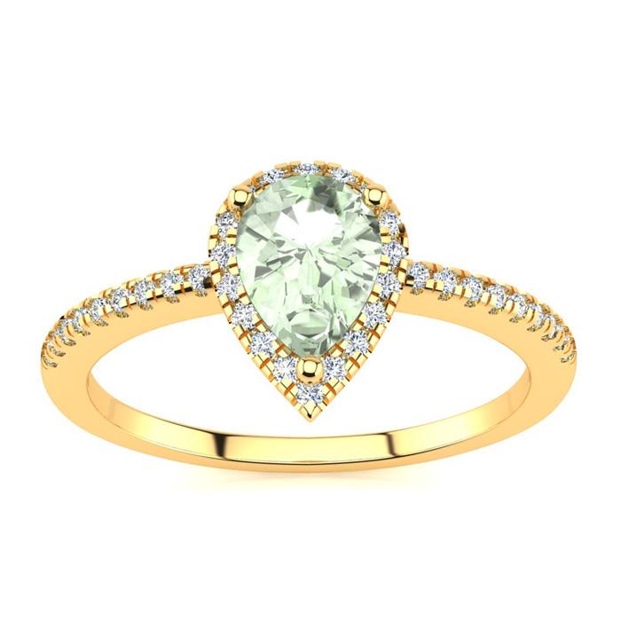 3/4 Carat Pear Shape Green Amethyst And Halo Diamond Ring In 14 Karat Yellow Gold
