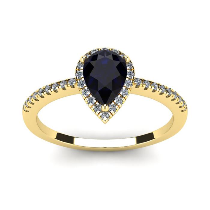 1 Carat Pear Shape Sapphire And Halo Diamond Ring In 14 Karat Yellow Gold