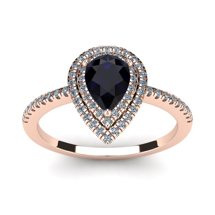 1 Carat Pear Shape Sapphire And Double Halo Diamond Ring In 14 Karat Rose Gold