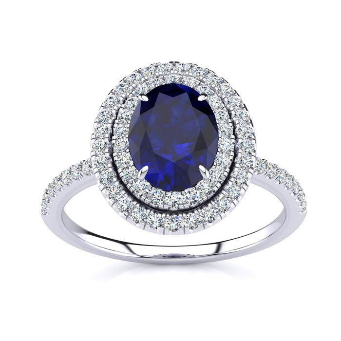2 Carat Oval Shape Sapphire And Double Halo Diamond Ring In 14 Karat White Gold