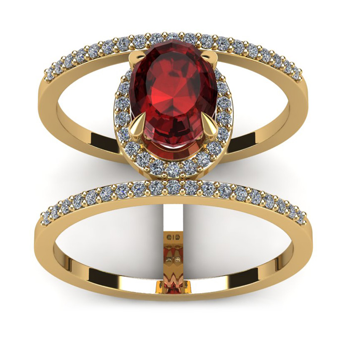 1 3/4 Carat Oval Shape Garnet And Halo Diamond Spacer Ring In 14 Karat Yellow Gold