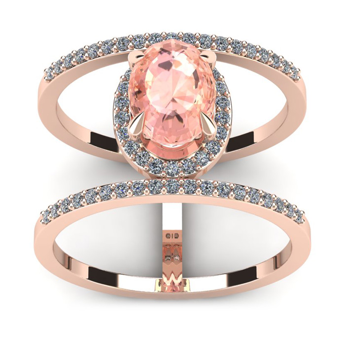 1 1/2 Carat Oval Shape Morganite and Halo Diamond Spacer Ring In 14 Karat Rose Gold thumbnail