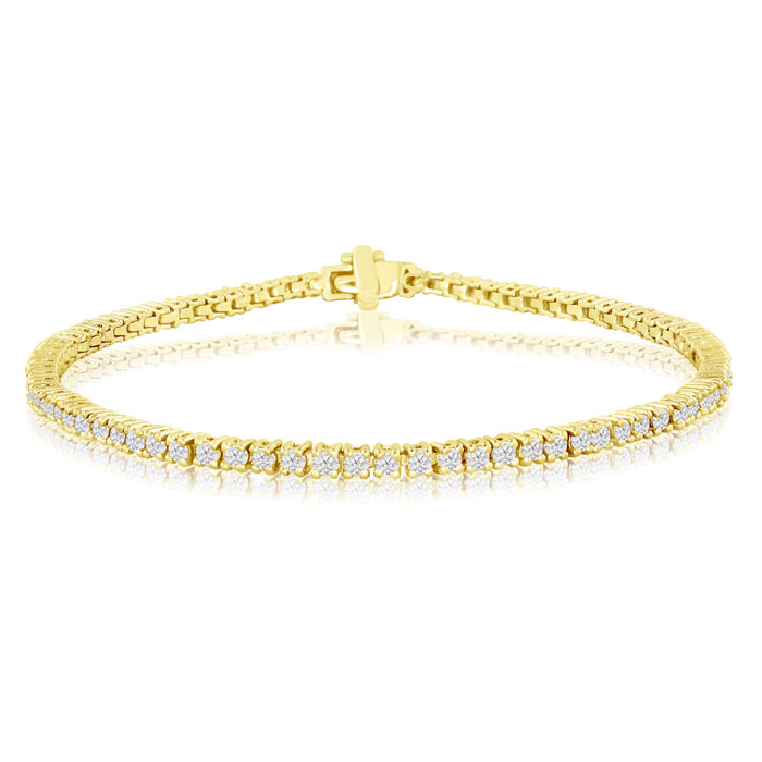 2ct Genuine Diamond Tennis Bracelet in 14k Yellow Gold - Saint Patrick's Day Diamond Jewelry Deals