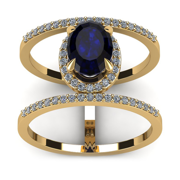 2 Carat Oval Shape Sapphire And Halo Diamond Spacer Ring In 14 Karat Yellow Gold