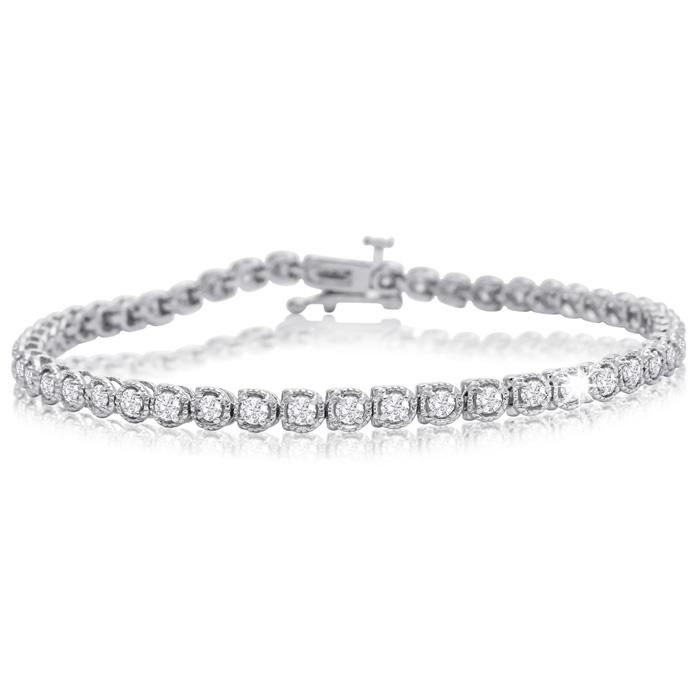 2 Carat Halo Diamond Tennis Bracelet In White Gold, 7 Inches