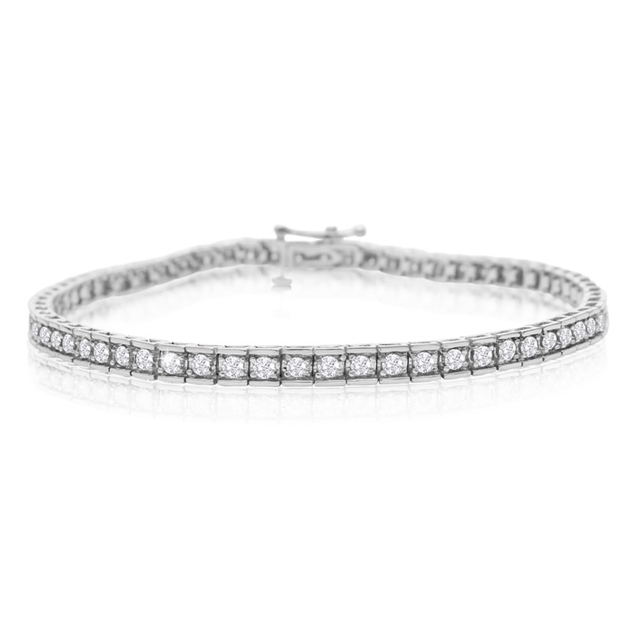 2 Carat Diamond Tennis Bracelet In White Gold, 7 Inches