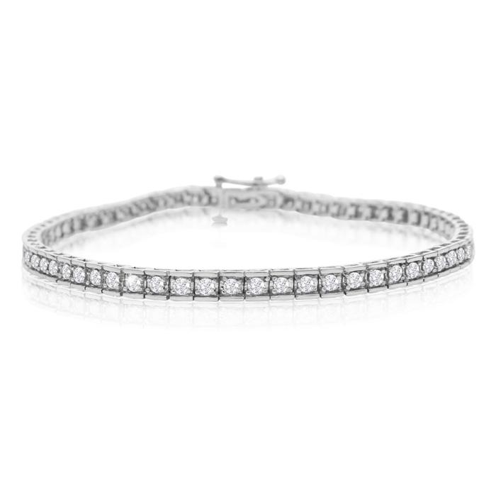 2 Carat Diamond Tennis Bracelet In White Gold, 7 Inches