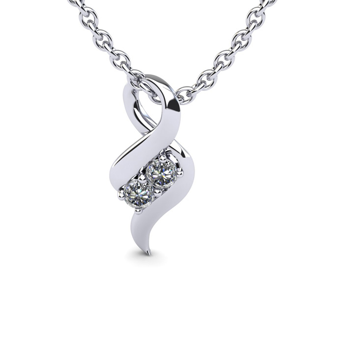 Two Stone Two Diamond Necklace By SuperJeweler 2Be Bonded Together.  1/4 Carat Two Diamond Necklace In 14 Karat White Gold