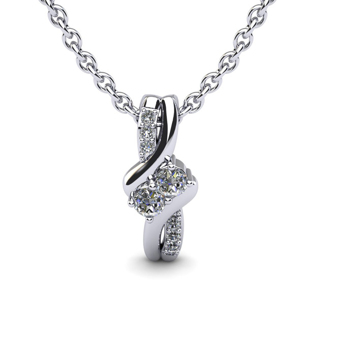 Two Stone Two Diamond Necklace By SuperJeweler 2Be Bonded Together.  1/4 Carat Two Diamond Plus Necklace In 14 Karat White Gold