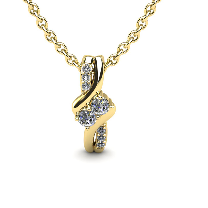 Two Stone Two Diamond Necklace By SuperJeweler 2Be Bonded Together.  1/4 Carat Two Diamond Plus Necklace In 14 Karat Yellow Gold