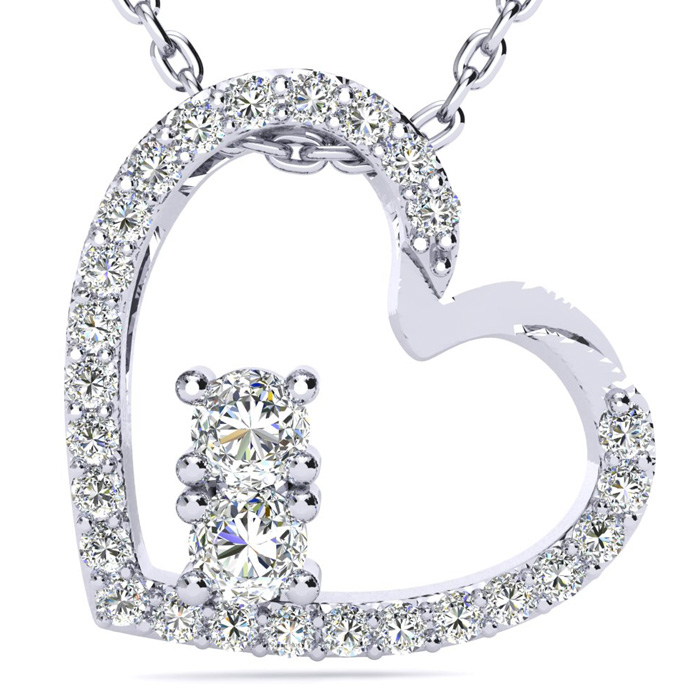 Two Stone Two Diamond Necklace By SuperJeweler 2Be 1/2 Carat Two Diamond Plus Heart Necklace In 14 Karat White Gold