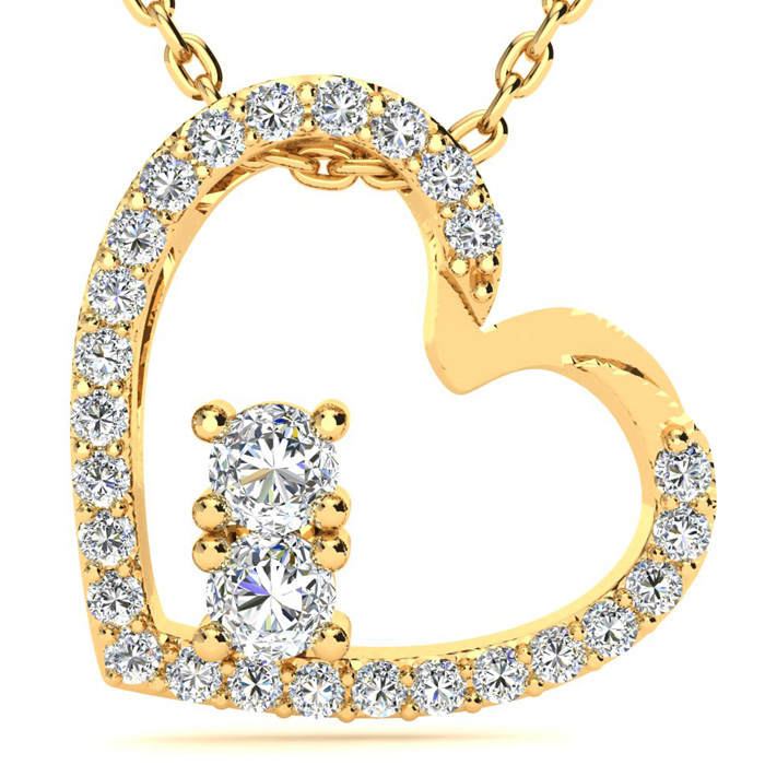 Two Stone Two Diamond Necklace By SuperJeweler 2Be 1/2 Carat Two Diamond Plus Heart Necklace In 14 Karat Yellow Gold