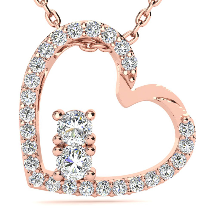 Two Stone Two Diamond Necklace By SuperJeweler 2Be Bonded Together.  1/2 Carat Two Diamond Plus Heart Necklace In 14 Karat Rose Gold