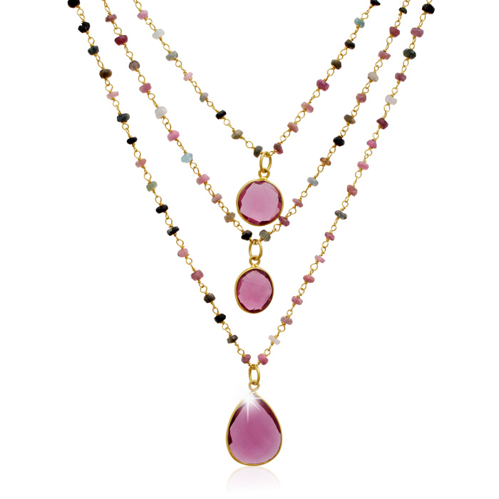 24 Carat Pink Tourmaline Triple Strand Beaded Necklace In 14K Yellow Gold, 26 Inches