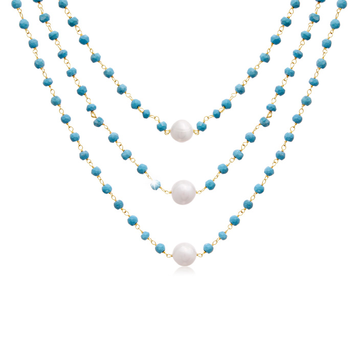 41 Carat Turquoise and Pearl Triple Strand Necklace In 14K Yellow Gold, 20 I..