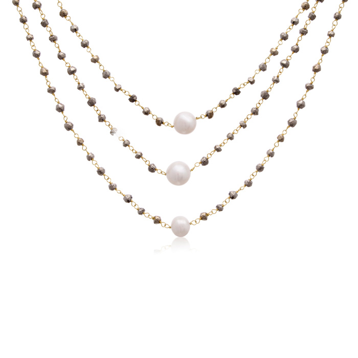 90 Carat Pyrite and Pearl Triple Strand Necklace In 14K Yellow Gold, 20 Inches