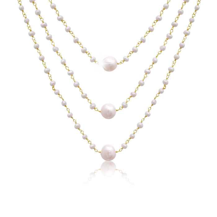 70 Carat Moonstone and Pearl Triple Strand Necklace In 14K Yellow Gold, 20 I..