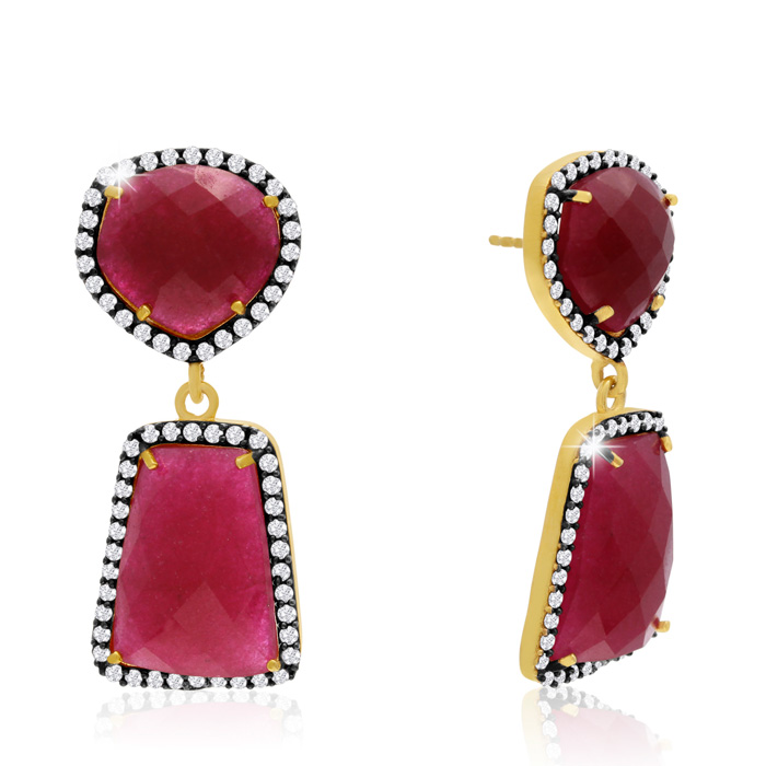 56 Carat Ruby And Simulated Diamond Earrings In 14k Yellow Gold
